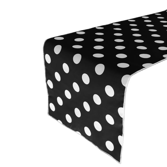 Cotton Print Table Runner Polka Dots White on Black