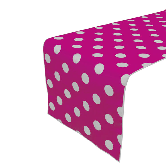 Cotton Print Table Runner Polka Dots White on Fuchsia