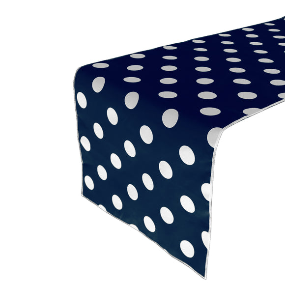 Cotton Print Table Runner Polka Dots White on Navy