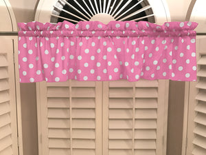 "Cotton Polka Dots Window Valance 58"" Wide White on Pink"