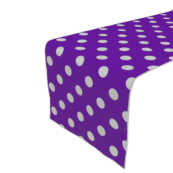 Cotton Print Table Runner Polka Dots White on Purple