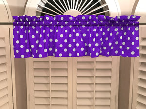 "Cotton Polka Dots Window Valance 58"" Wide White on Purple"