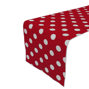 Cotton Print Table Runner Polka Dots White on Red