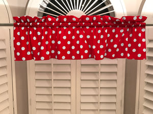 "Cotton Polka Dots Window Valance 58"" Wide White on Red"