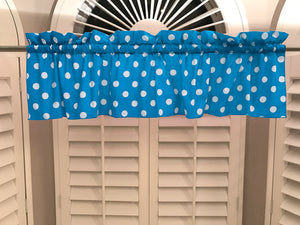 "Cotton Polka Dots Window Valance 58"" Wide White on Turquoise"