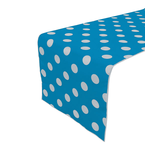 Cotton Print Table Runner Polka Dots White on Turquoise