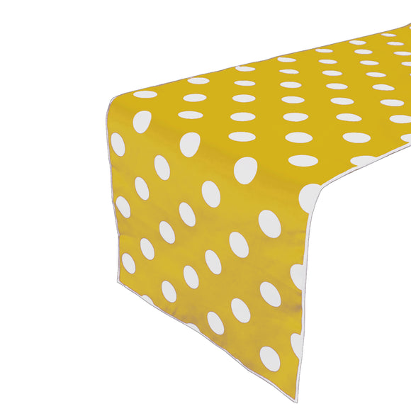 Cotton Print Table Runner Polka Dots White on Yellow
