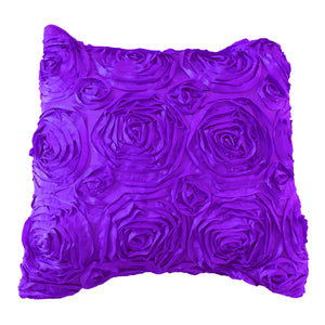 Satin Rosette Decorative Throw Pillow/Sham Cushion Cover Purple