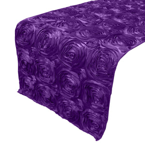 Satin Rosette Table Runner Raised Roses Purple
