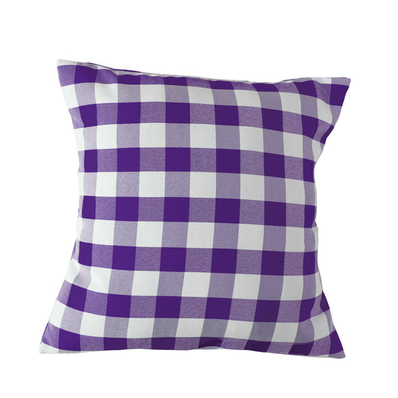 Gingham Checkered Decorative Throw Pillow/Sham Cushion Cover Purple & White