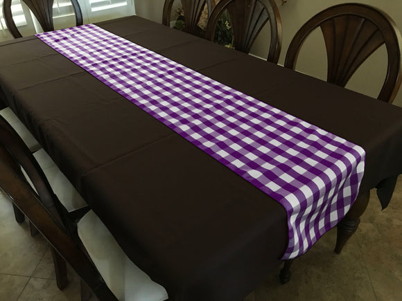 Poplin Table Runner Gingham Checkered Purple