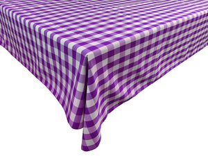 Poplin Gingham Checkered Plaid Tablecloth Purple