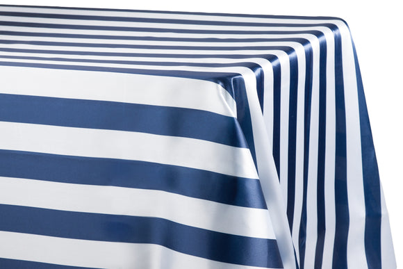 Satin Stripe Tablecloth 2 Inch Navy and White