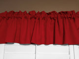 "Solid Poplin Window Valance 58"" Wide Red"