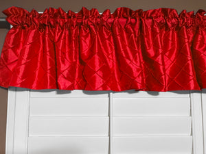 "Pintuck Window Valance 52"" Wide Red"