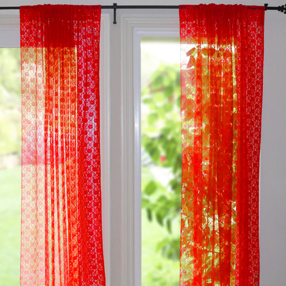 Floral Lace Window Curtain 58 Inch Wide Red