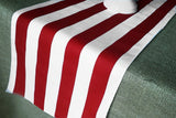 Cotton Print Table Runner 2 Inch Wide Stripes Red