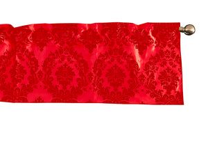 "Flocked Damask Window Valance 58"" Wide Red on Red"