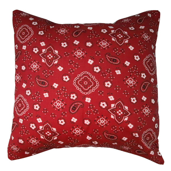 Cotton Bandanna Print Decorative Throw Pillow/Sham Cushion Cover Red