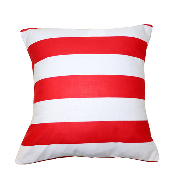 Cotton 2 Inch Stripe Decorative Throw Pillow/Sham Cushion Cover Red & White