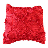 Satin Rosette Decorative Throw Pillow/Sham Cushion Cover Red