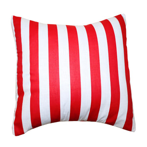 Cotton 1 Inch Stripe Decorative Throw Pillow/Sham Cushion Cover Red and White