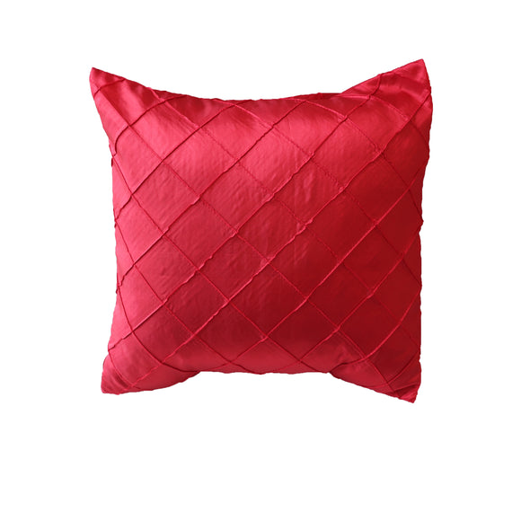 Pintuck Taffeta Decorative Throw Pillow/Sham Cushion Cover Red