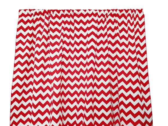 Cotton Zig-zag Chevron Window Curtain 58 Inch Wide Red