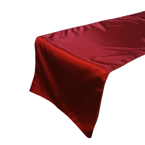 Shiny Satin Table Runner Solid Red
