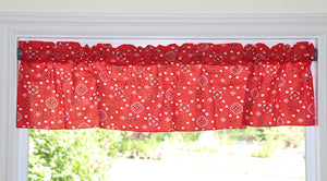"Cotton Bandanna Window Valance 58"" Wide Red"