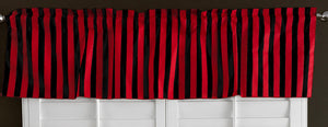 "Cotton Stripe Window Valance 58"" Wide 1 Inch Stripe Red and Black"