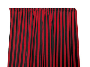 Cotton Stripe Window Curtain 58 Inch Wide 1 Inch Stripe Red and Black