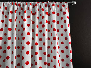 Cotton Polka Dots Window Curtain 58 Inch Wide Red on White