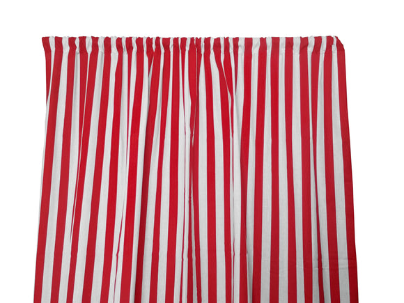 Cotton Stripe Window Curtain 58 Inch Wide 1 Inch Stripe Red and White