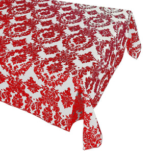Flocking Damask Taffeta Tablecloth Red on White
