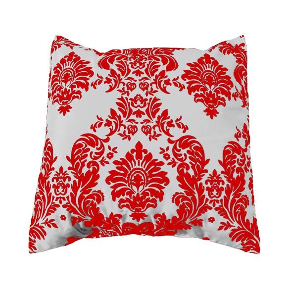 Flocked Damask Decorative Throw Pillow/Sham Cushion Cover Red on White