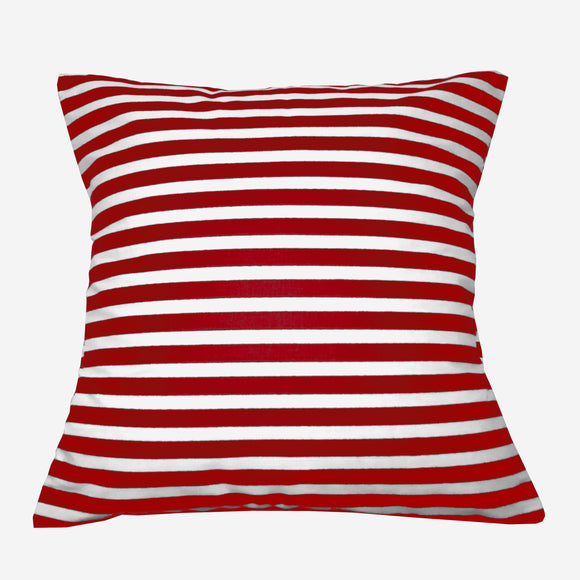 Cotton 1/2 Inch Stripe Decorative Throw Pillow/Sham Cushion Cover Red and White