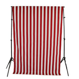 Cotton Stripe Window Curtain 58 Inch Wide 2 Inch Stripe Red and White