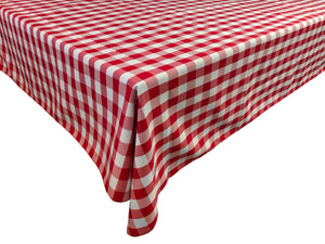 Poplin Gingham Checkered Plaid Tablecloth Red
