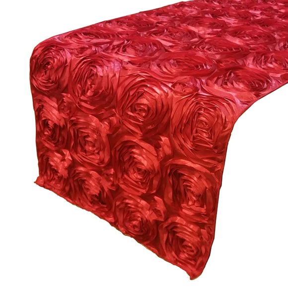 Satin Rosette Table Runner Raised Roses Red