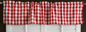 "Poplin Gingham Checkered Window Valance 58"" Wide Red"