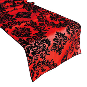 Flocked Damask Table Runner Red