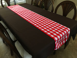 Poplin Table Runner Gingham Checkered Red