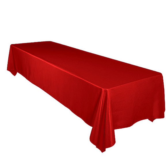 Shiny Satin Solid Tablecloth Red