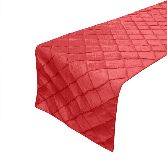 Pintuck Taffeta Table Runner Red