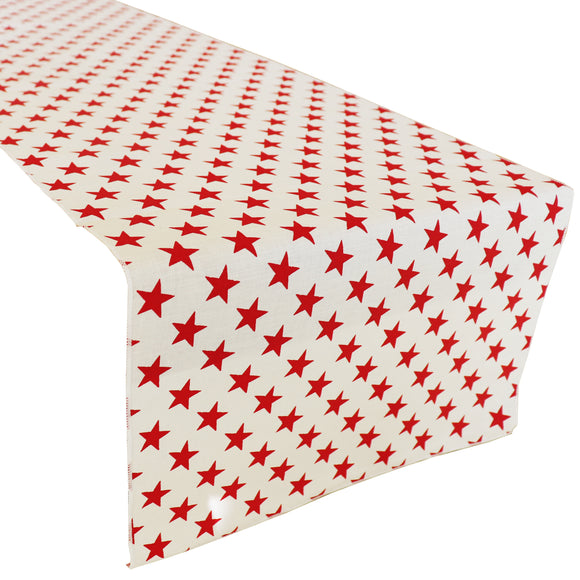 Cotton Print Table Runner Stars Red on White