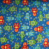 "100% Cotton Flannel Children's Prints Window Valance 42"" Wide Robots and Gears"