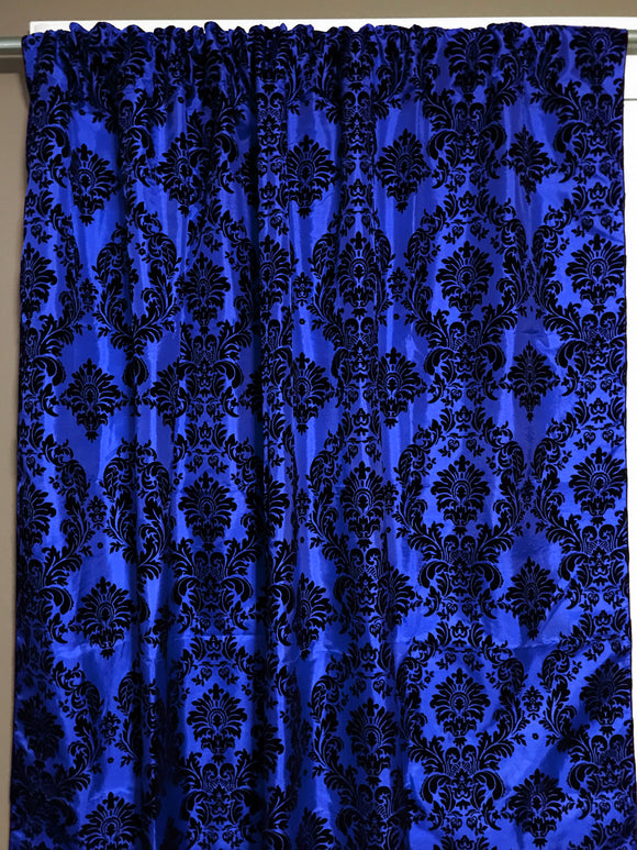 Flocking Damask Taffeta Window Curtain 56 Inch Wide Royal Blue