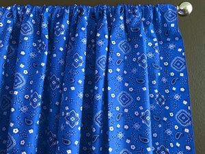 Cotton Bandanna Window Curtain 58 Inch Wide Blue