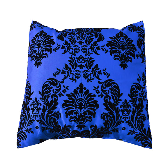Flocked Damask Decorative Throw Pillow/Sham Cushion Cover Black on Royal Blue